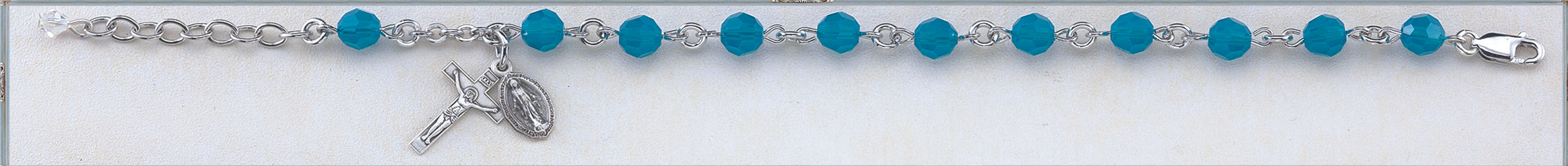Coral Blue Round Faceted Swarovski Crystal Sterling Bracelet