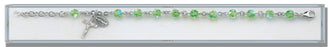Chrysolite Round Faceted Swarovski Crystal Sterling Bracelet