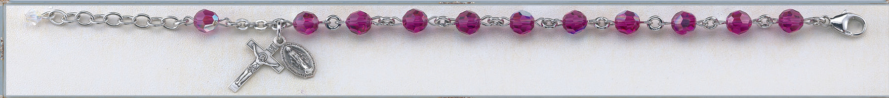6mm Fuchsia Round Faceted Swarovski Crystal Sterling Bracelet