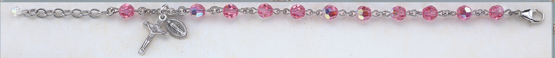 Pink Round Faceted Swarovski Crystal Sterling Bracelet