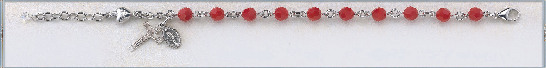 Red Coral Round Faceted Swarovski Crystal Bead and Sterling Sacred Hearts