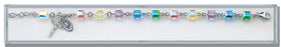 Multi Color Swarovski Crystal Faceted Cube Sterling Bracelet