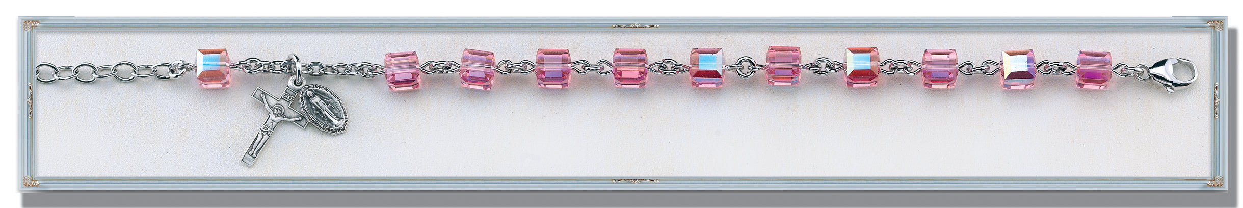 Pink Swarovski Crystal Faceted Cube Sterling Bracelet