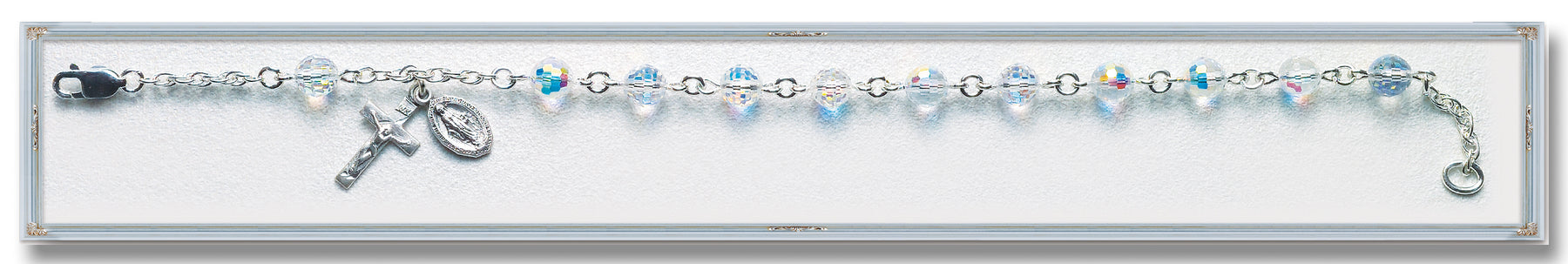 Aurora Multi Faceted Swarovski Crystal Sterling Bracelet