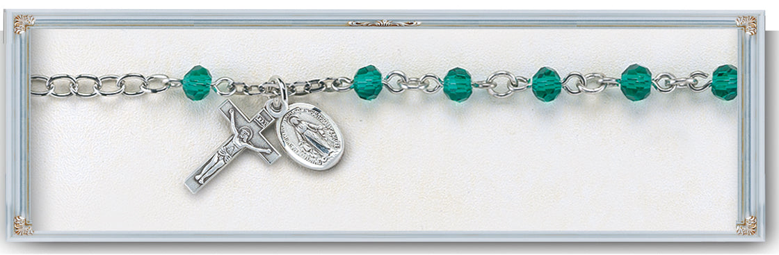 5mm Emerald Rosary Bracelet