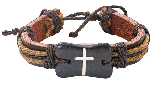 Leather Bracelet with Brown Cross
