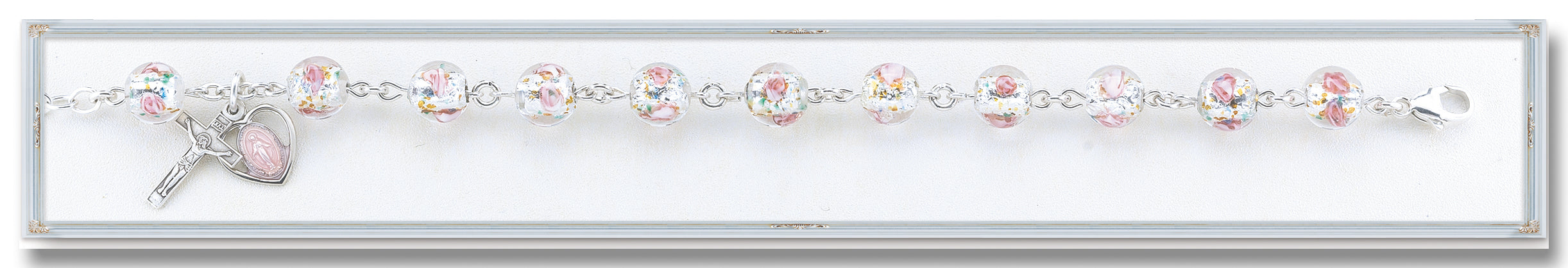 Rose Embedded Murano Glass Bracelet