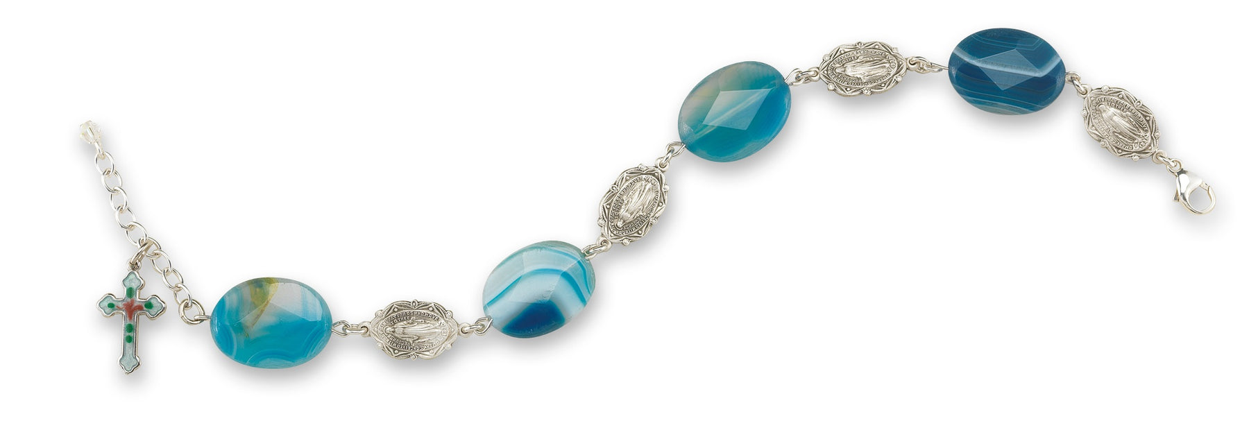 Faceted Blue Agate Stone Rosary Bracelet