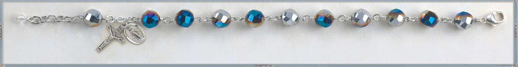 Metallic Silver Tin Cut Crystal Bracelet