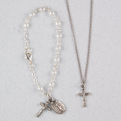 Silver Crystal Baby Bracelet and Pendant Set