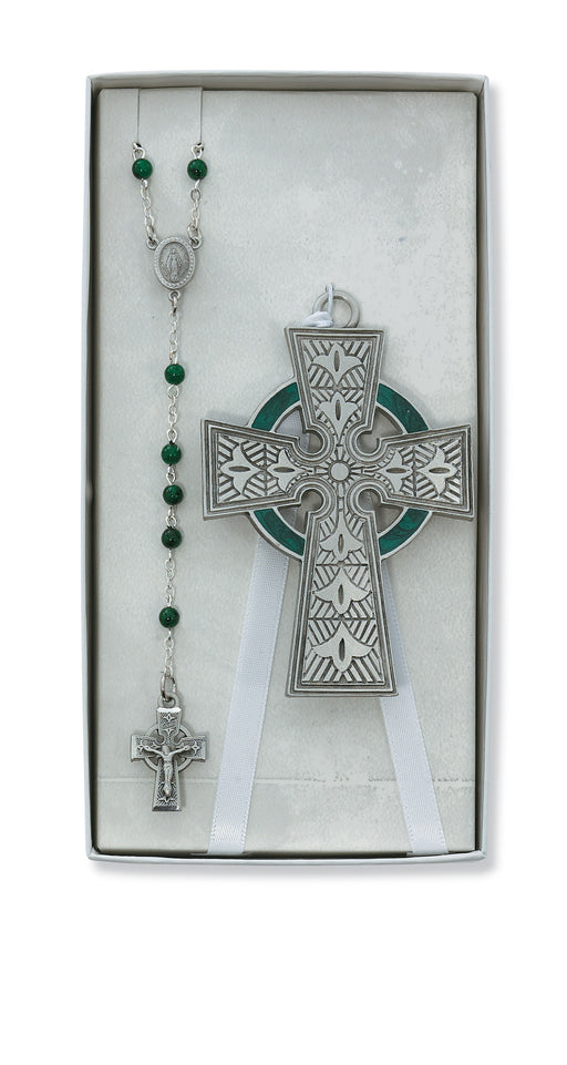 Celtic Crib Cross and Rosary Set