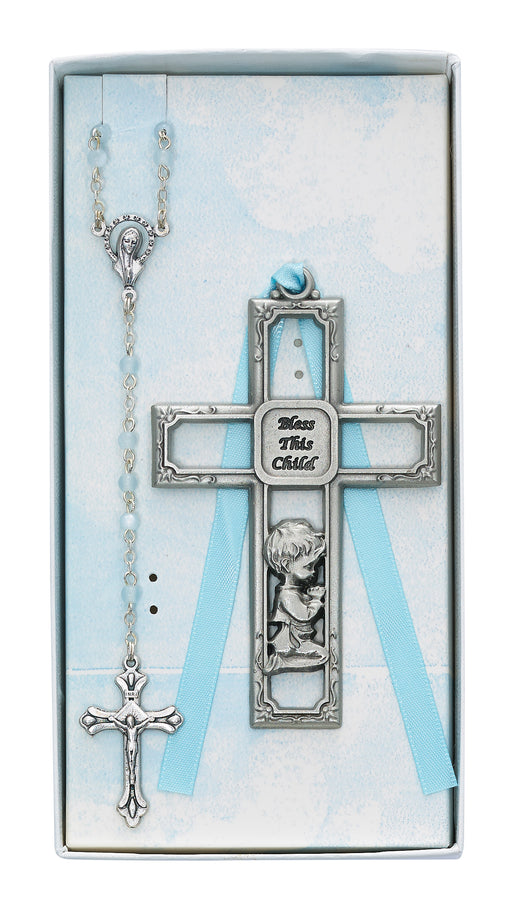 Pewter Boy Cross and Rosary Set