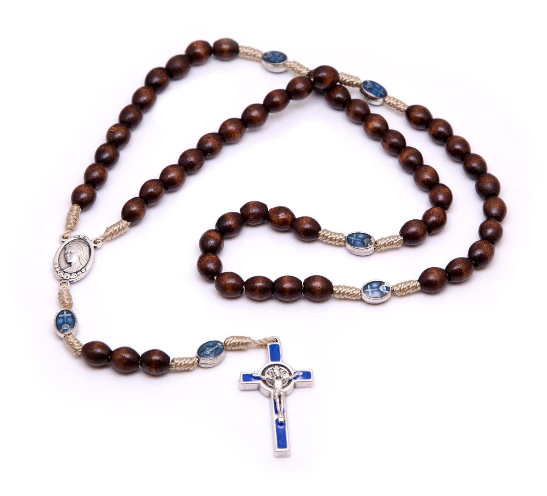 Small St. Benedict Rosary w/ Our Lady - Blue