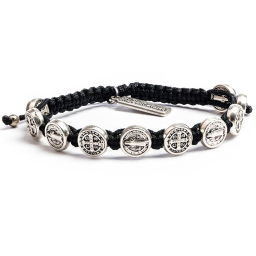Benedictine Blessing Bracelet for Him Black - Silver Metal