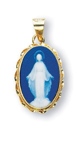 3/4-inch Gold Over Sterling Dark Blue Miraculous Cameo with 18-inch Chain