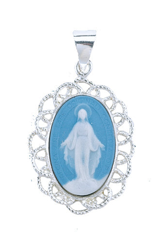1-1/8-inch Light Blue Capodimonte Cameo with 18-inch Chain