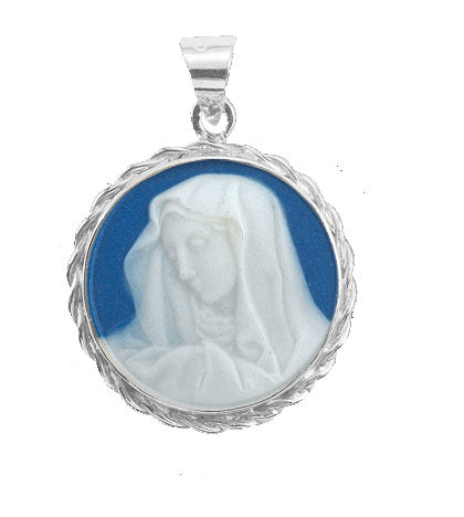 15/16-inch Sterling Silver Dark Blue Our Lady of Sorrows Cameo with 18-inch Chain