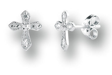 7/16-inch Sterling Zircon Cross Earrings