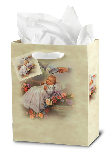Baptism (Traditional) Med Gift Bag with Tissue 73/4X93/4X4 10-Pack