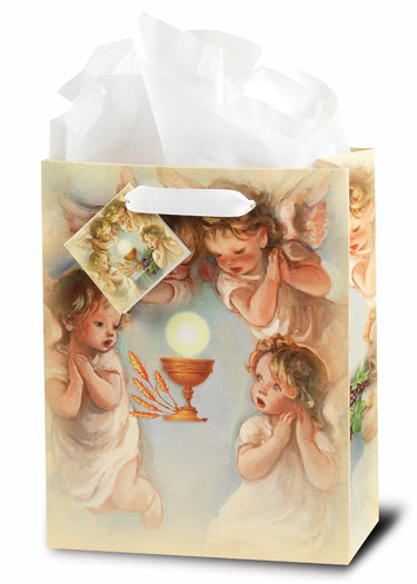 Communion (Angels) Med Gift Bag 73/4X93/4X4 With Tissue 10-Pack