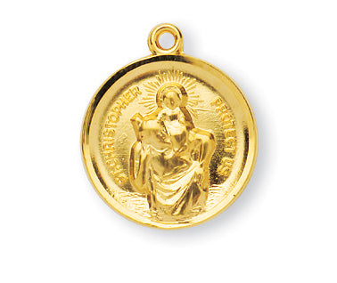 Gold over Sterling Silver Round Saint Christopher Medal