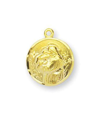 5/8-inch Gold Over Sterling Silver Saint Anthony Medal with 18-inch Chain