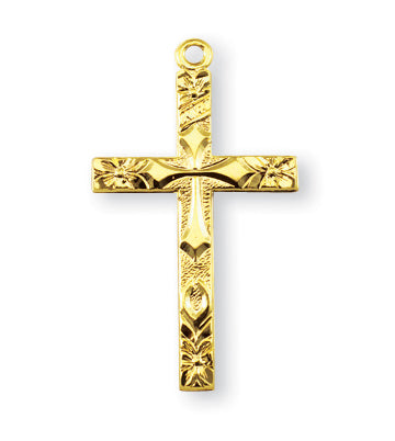 1 1/8-inch Gold Over Sterling Silver Cross with 18-inch Chain