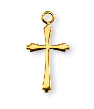 7/8-inch Gold Over Sterling Silver Cross with 18-inch Chain