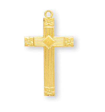 1-inch Gold Over Sterling Silver Cross with 18-inch Chain