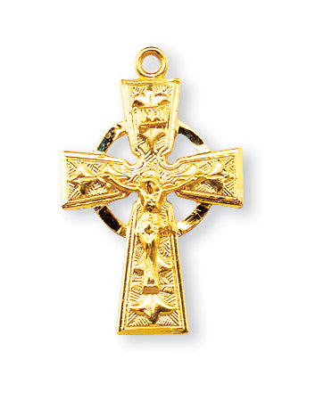 1 1/8-inch Gold Over Sterling Silver Celtic Cross with 18-inch Chain