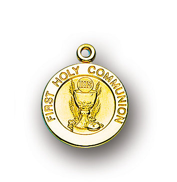 3/4-inch Gold Over Sterling Silver First Holy Communion Pendant with 18-inch Chain