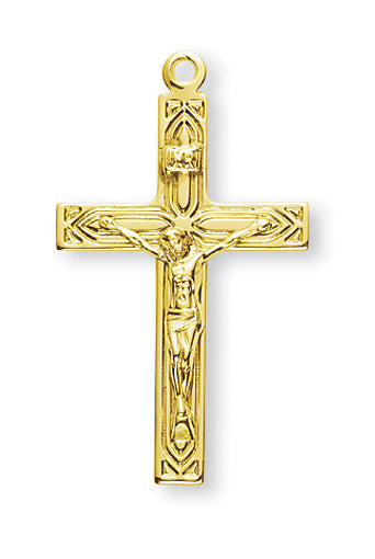 1 1/4-inch Gold Over Sterling Silver Crucifix with 18-inch Chain