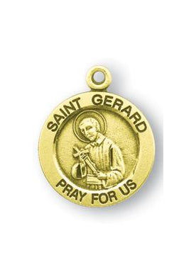 Gold over Sterling Silver Round Shaped Saint Gerard Medal