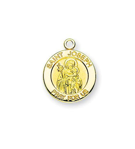 Gold over Sterling Silver Round Shaped Saint Joseph Medal