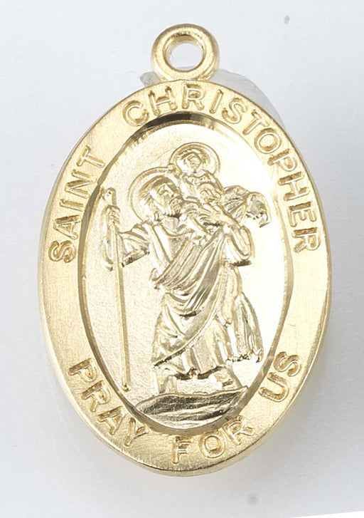 Gold over Sterling Silver Oval Saint Christopher Medal