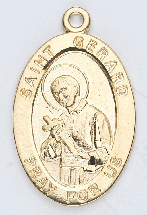 7/8-inch Oval Gold Over Sterling Silver Saint Gerard Medal with 18-inch Chain