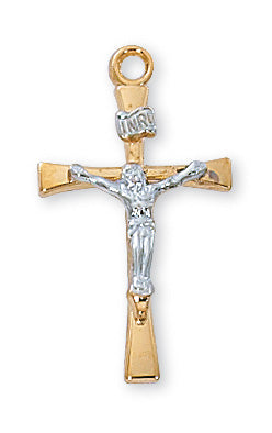 Gold over Silver Tutone Crucifix with 18-inch Chain