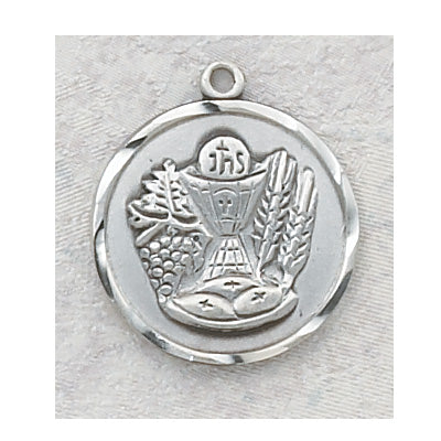 Sterling Silver Communion Medal 18-inch Chain