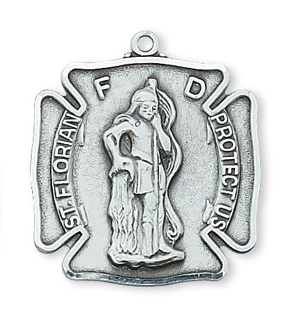 Sterling Silver Saint Florian with 24-inch Chain
