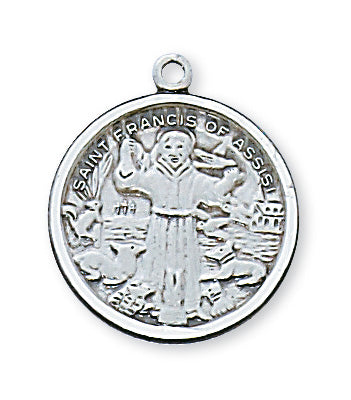 Sterling Silver Saint Francis with 18-inch Chain
