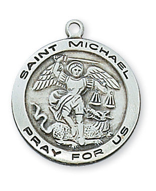 Sterling Silver Saint Michael Necklace Set