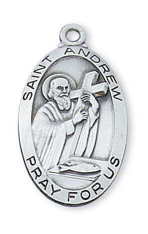 Sterling Silver Medal of Saint Andrew 24-inch Chain - Engravable