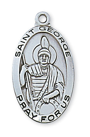 Sterling Silver Medal of Saint George 24-inch Chain - Engravable