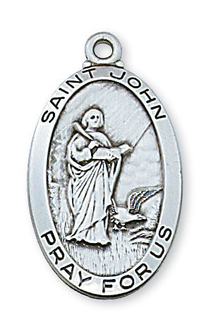 Sterling Silver Medal of Saint John 24-inch Chain - Engravable