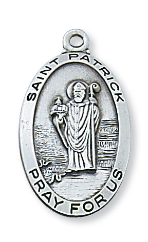 Sterling Silver Medal of Saint Patrick 24-inch Chain - Engravable