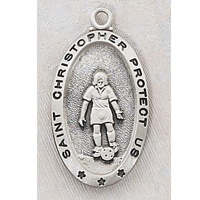 Sterling Silver Soccer Medal and Chain and Box