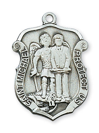 Sterling Silver Med Saint Mich with 20-inch Chain