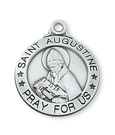 Sterling Silver Medal of Saint Augustine 20-inch Chain - Engravable