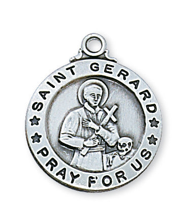 Sterling Silver Medal of Saint Gerard 20-inch Chain - Engravable