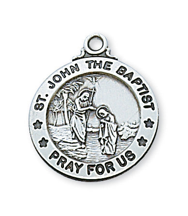 Sterling Silver Medal of Saint John The Baptist 20C-inch - Engravable